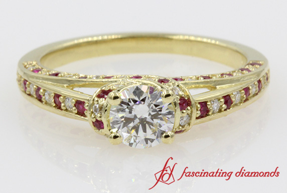 Crossover Halo Ring With Ruby