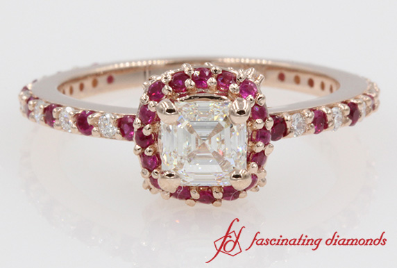 Delicate Asscher Diamond With Ruby Ring