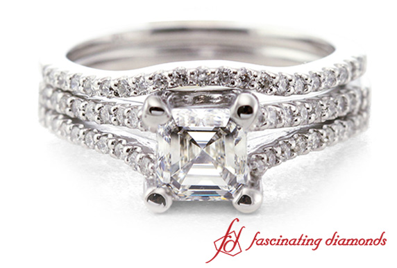 Asscher Cut Split Wedding Set