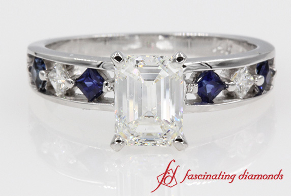 Sapphire Kite Set Engagement Ring