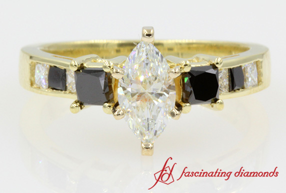 Marquise Cut With Black Diamond Ring