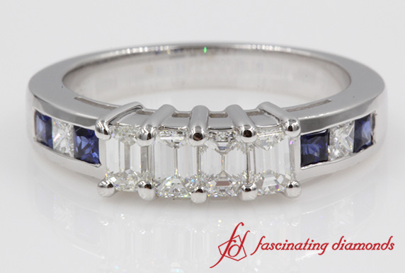 4 Emerald Cut Accent Band