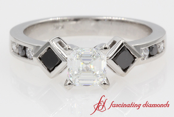 Asscher Cut Black & Diamond Ring