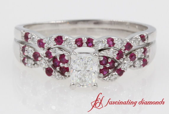 Radiant Cut Diamond & Ruby Bridal Set