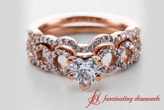Entwine Loop Heart Diamond Wedding Ring Set In 18k Rose Gold
