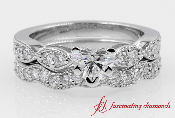 Heart Diamond Wave Ring Set