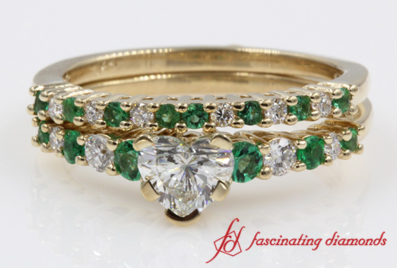 Diamond With Emerald Gemstone Heart Wedding Ring Set In Yellow Gold