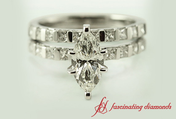 Delicate Bar Setting Marquise Wedding Set In 18K White Gold