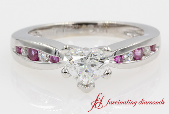 Channel Set Heart Shaped Diamond Ring