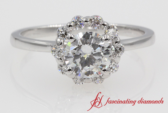 Floral Style Halo Round Diamond Ring