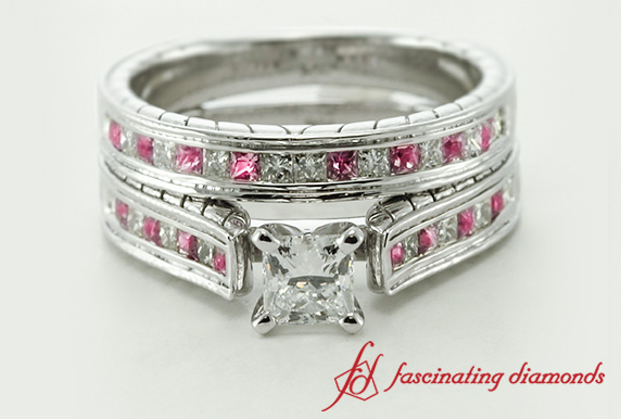 Princess Cut Channel Diamond Bridal Set