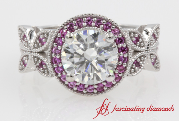 Round Halo Pink Sapphire Ring