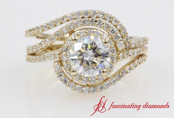 Double Halo Swirl Round Diamond Ring Set