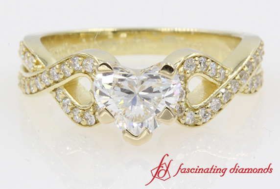 Entwine Pave Heart Diamond Ring