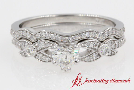 Pave Heart Diamond Wedding Set