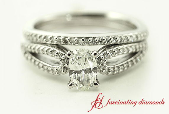 Split Shank Oval Shaped Diamond Wedding Ring Sets In 14k White Gold
