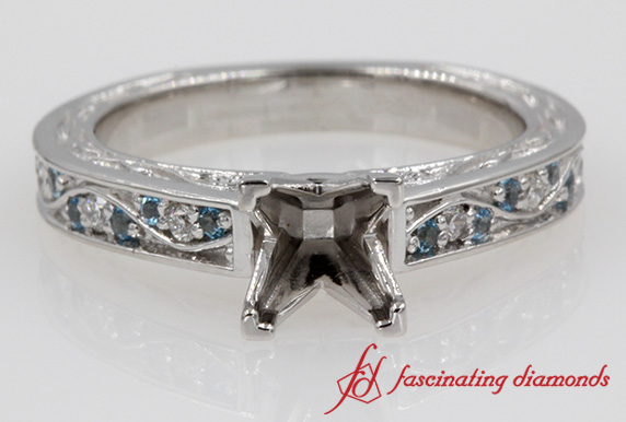 Antique Pave Diamond With Blue Topaz Ring Setting in White Gold