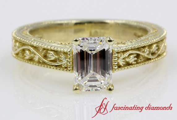 Floral Design Vintage Emerald Cut Solitaire Diamond Ring in Yellow Gold