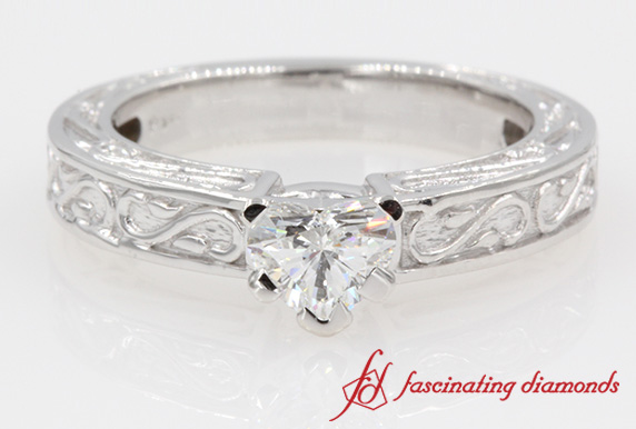 Heart Shaped Single Diamond Ring In 14K White Gold