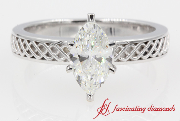 Criss Cross Style Marquise Solitaire Engagement Ring In 14K White Gold