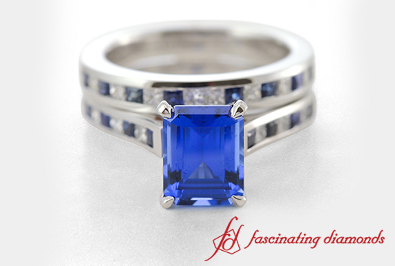 Channel Set Sapphire White Gold Bridal Ring Set