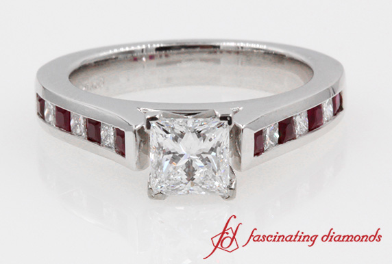Channel Cathedral Princess Cut Diamond Ring