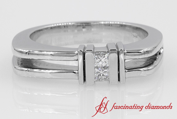 2 Princess Cut Diamond Channel Comfort Fit Ring For Men in White Gold
