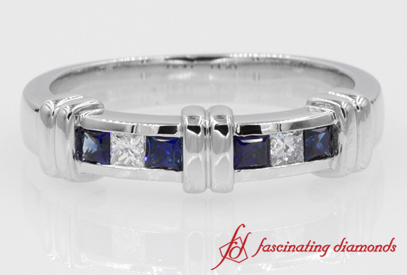 Channel Bar Set Diamond With Sapphire Band For Men in White Gold
