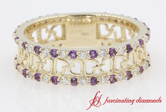 Purple Topaz Heart Design Band