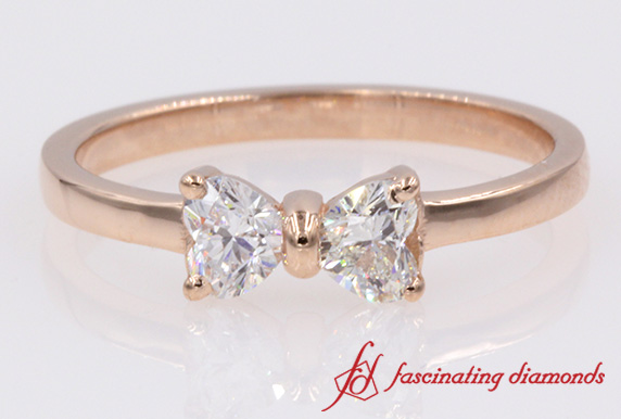 2 Heart Shaped Bow Diamond Promise Ring