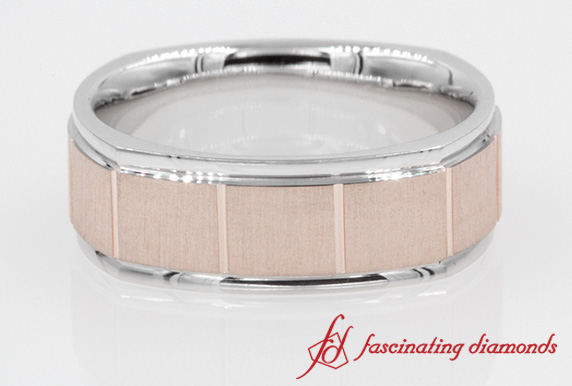 2 Tone Gold Texture Square Band In 14K Rose Gold
