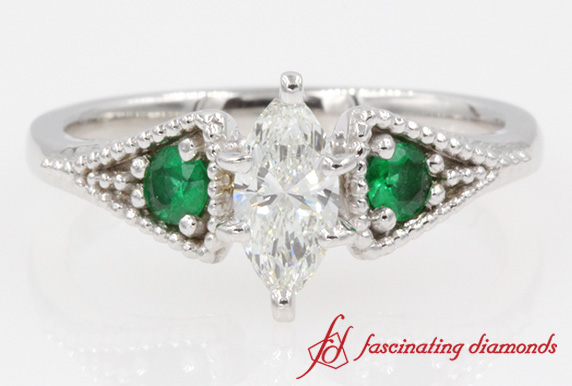 3 Stone Pave Milgrain Marquise Diamond With Emerald Engagement Ring In White Gold