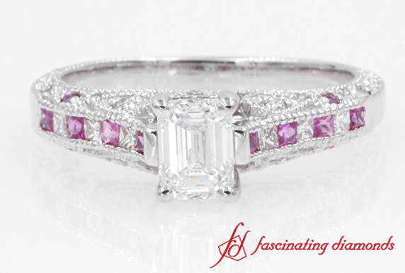 Antique Emerald Cut diamond With Pink Sapphire Engagement Ring in White Gold