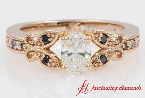 Oval Shaped Diamond & Black Ring