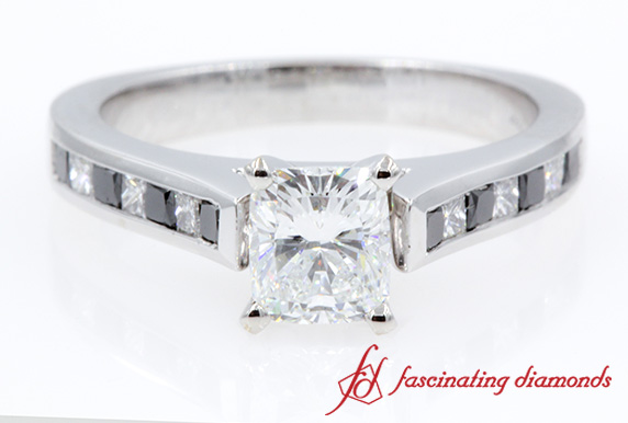 Channel Set Cushion Cut Diamond Ring