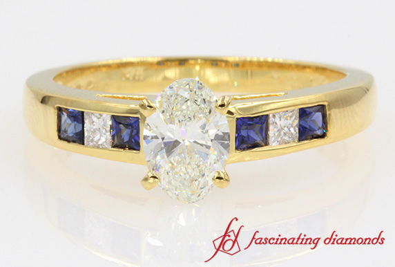 Channel Oval Diamond With Sapphire Ring