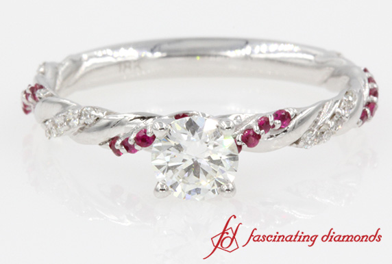 Delicate Rope Design Round Diamond With Ruby Engagement Ring In