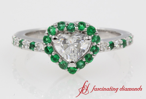 Heart Halo Diamond & Emerald Ring