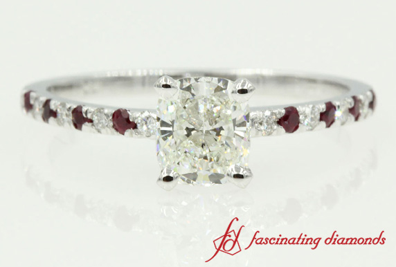 Cushion And Ruby Petite Ring