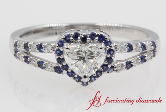 Sapphire Halo Heart Diamond Split Ring