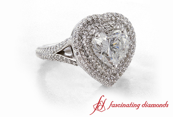 Double Halo Heart Diamond Ring