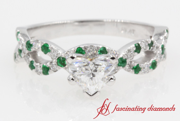 engagement edwardian halo emerald shaped ring heart front and diamond