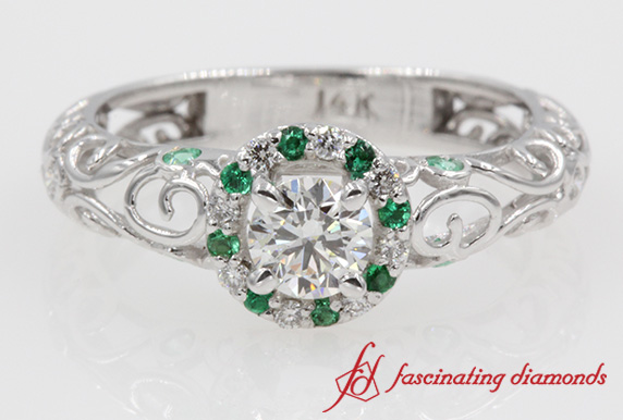Round Cut Diamond & Emerald Ring
