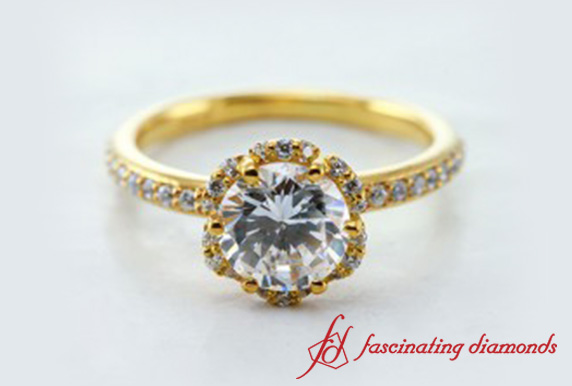 6 Petal Round Diamond Solitaire Ring