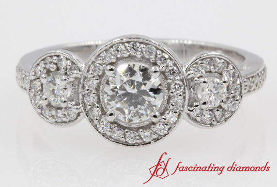 Round Pave Three Stone Halo Diamond Ring