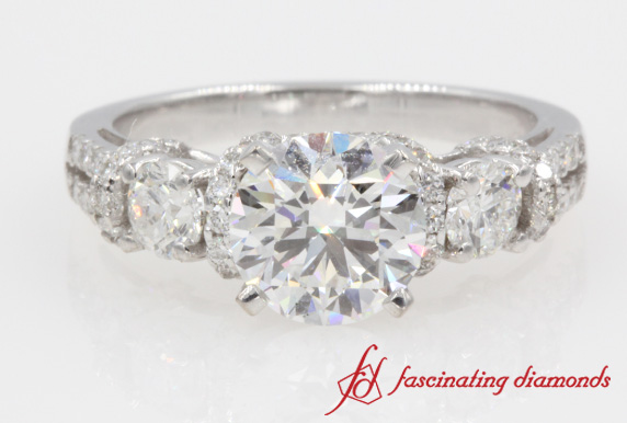 2 Row Side Stone Ring