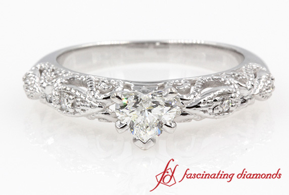 Heart Shaped Diamond Milgrain Ring