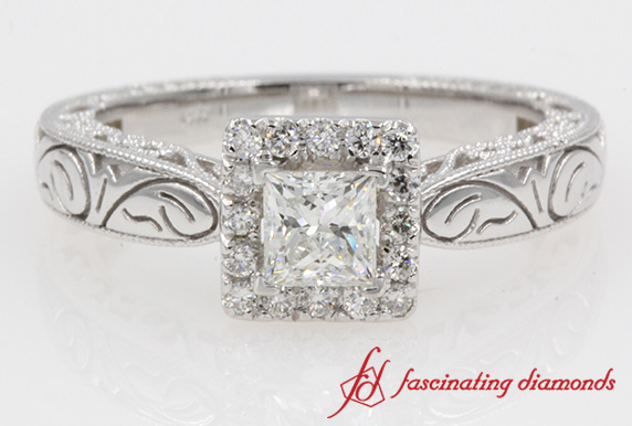 Filigree Square Princess Halo Diamond Ring