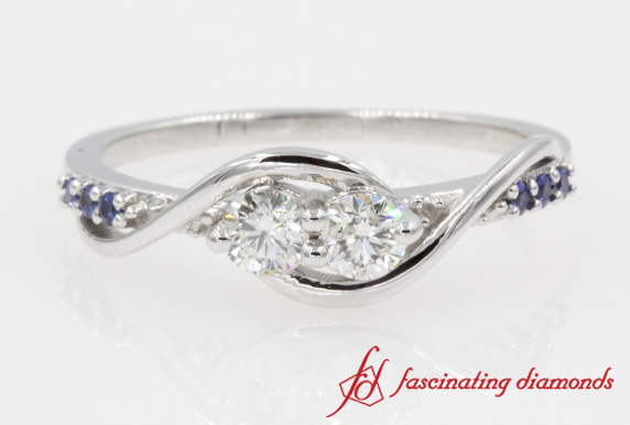 Two Stone Twisted Diamond Ring