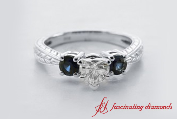 Heart Diamond Three Stone Ring